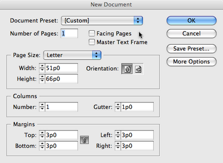 indesign creates a new one page document and shows you the first document page switch to the master page by double clicking the a master page name at the