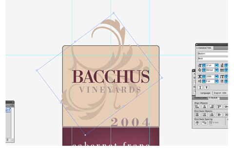 Add ornamental swirls to label