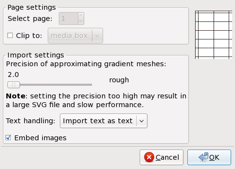 PDF import settings