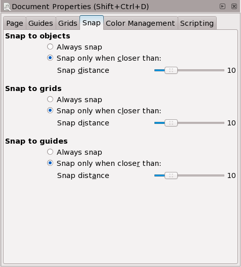 Select Snapping Preferences