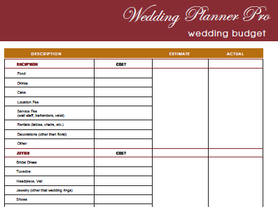 Diy free wedding planner pro fillable pdf worldlabel blog vendor contact list wedbudget wedding budget junglespirit Images