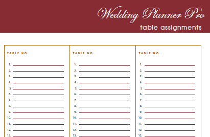 Diy free wedding planner pro fillable pdf worldlabel blog for Wedding table organizer