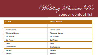 Diy free wedding planner pro fillable pdf worldlabel blog for Wedding vendor checklist template
