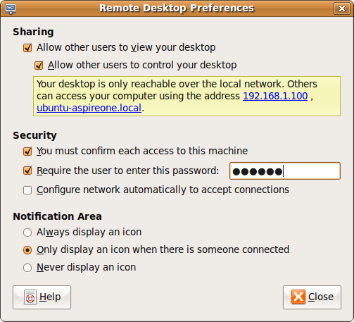 Enabling the Remote Desktop feature on Ubuntu