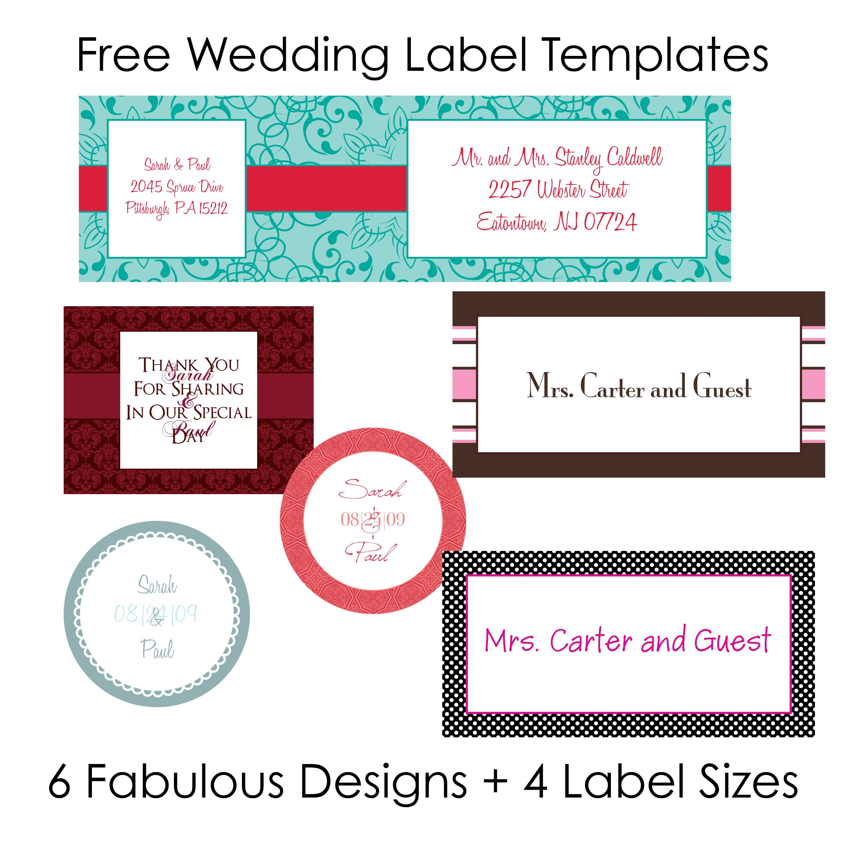 DIY Wedding Labels for free collection two – Free Mailing Label Template