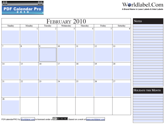 Free 2010 fillable calender PDF Pro Printable template | Worldlabel ...
