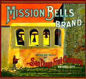 A crate label for Mission Bells Brand fruit depicts the ringing of the bells at Mission San Juan Capistrano.