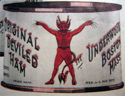 Illustration of can of Underwood Deviled Ham, 1921 advertisement.