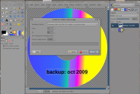 gimp how to make cd label