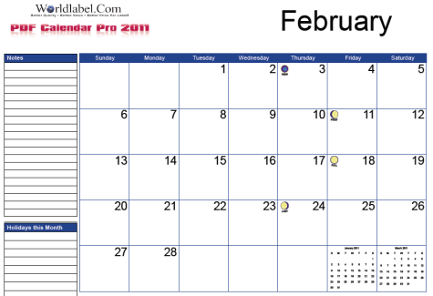 Free 2011 Fillable Calendar Pro | Worldlabel Blog