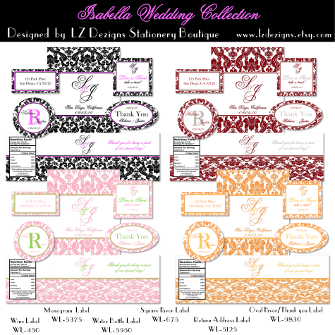 water bottle labels template avery - wedding labels free the isabella collection by lz dezigns