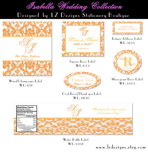 Wedding Labels Free The Isabella Collection By LZ Dezigns - Champagne label template