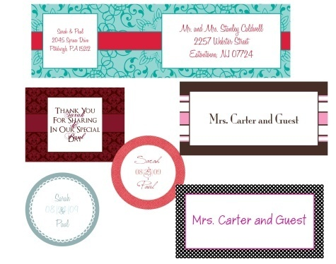 Vist this collection of free wedding labels in printable PDF templates