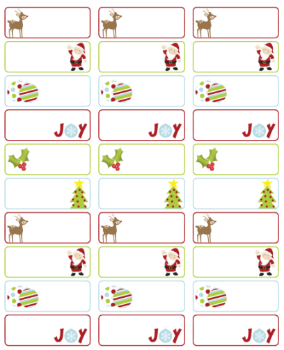 Dashing image with printable christmas labels