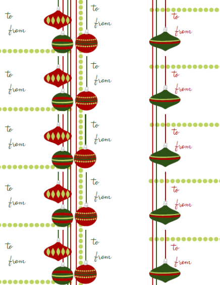 Holiday Gift Tags Template To and from gift tag / labels