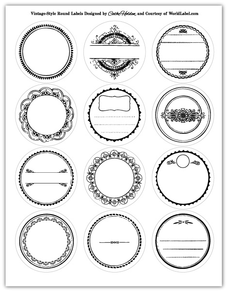 Round labels in a vintage style design worldlabel blog for Z label templates