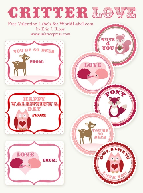 valentine s day labels stickers critter love by inktreepress