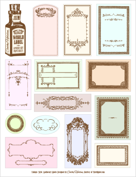 Apothecary labels for Free downloadable labels template