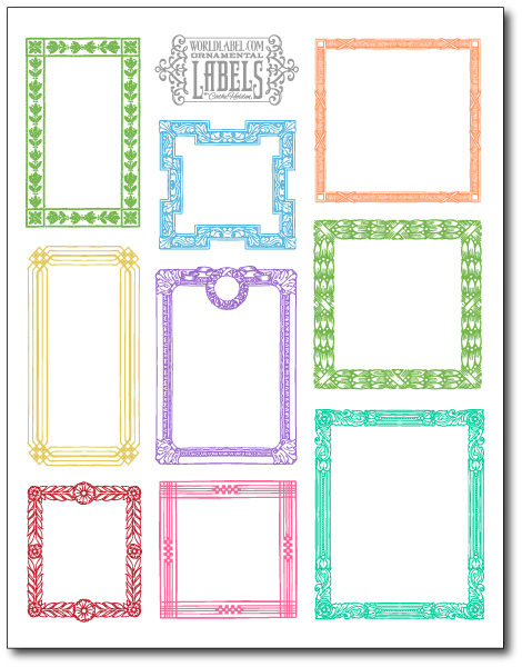 Vintage ornamental framed labels by cathe holden for Free downloadable labels template
