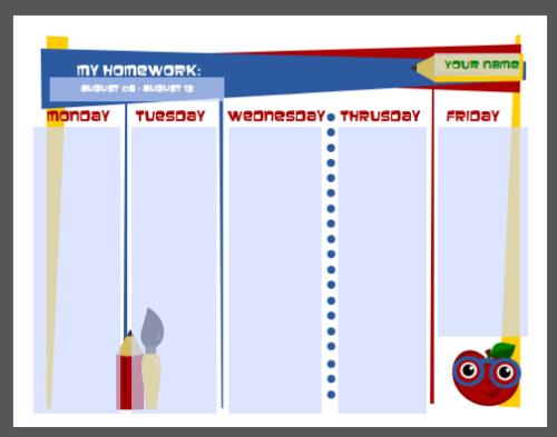 homework chart templates