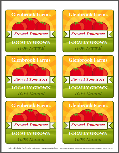 Tomato Canning Jars Labels For Your Farmers Market Stand