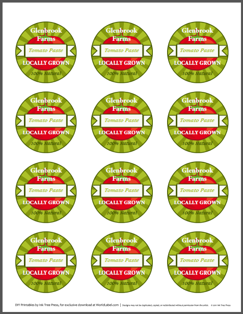 Tomato canning jars labels for your Farmers Market Stand ...