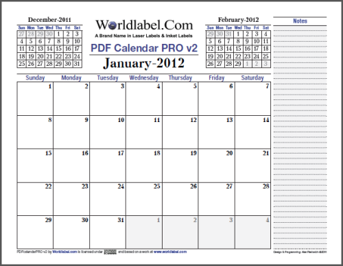 2012 fillable PDF Calendar Pro Version 2.0 for Free | Worldlabel Blog