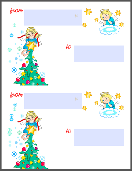 Holiday Christmas Labels Tags with Angels Flavor Templates – Large Mailing Labels