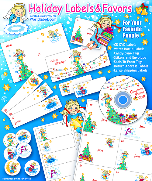 Holiday Christmas Labels Tags With Angels Flavor Templates