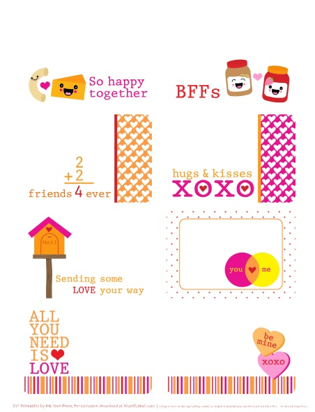 Valentines Day Labels all you need is Love – Valentine Day Label