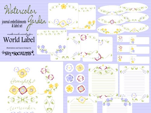 Journal embellishments label set in a Watercolor Garden