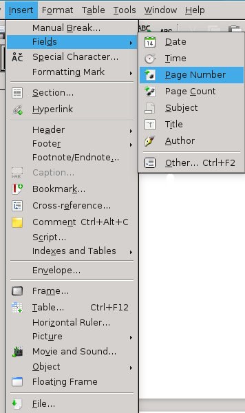 how to insert a page break in libreoffice