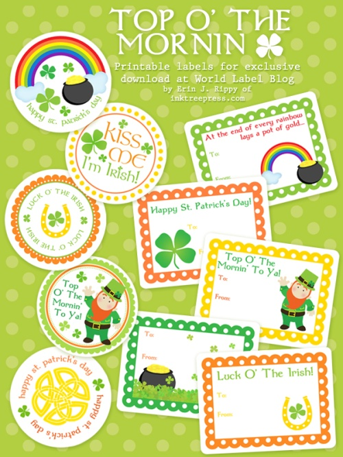 St patricks day labels by inktreepress worldlabel blog for World label blog