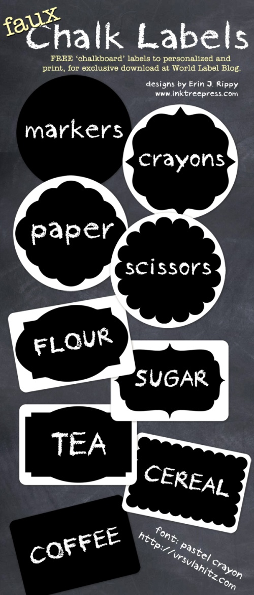 photo regarding Free Printable Chalkboard Labels called Chalk Labels inside of fillable templates Free of charge printable labels