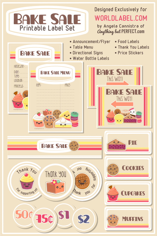 Bake Sale Printable Labels Set