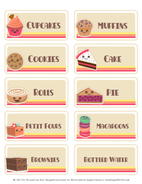 bake sale labels