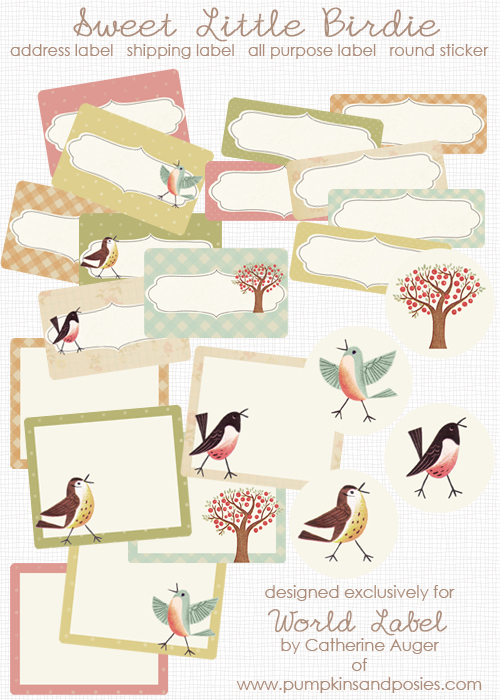Sweet Birds address, shipping & round labels | Free printable labels