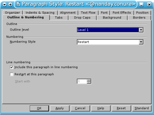 how to change page style in libreoffice