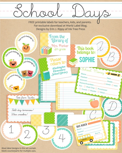School Book Cover Stickers : Teacher label templates worldlabel