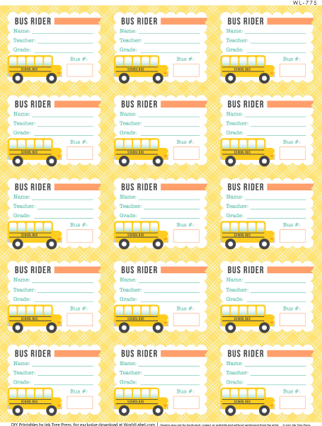 School days printables labels part 1 worldlabel blog for Carpool calendar template