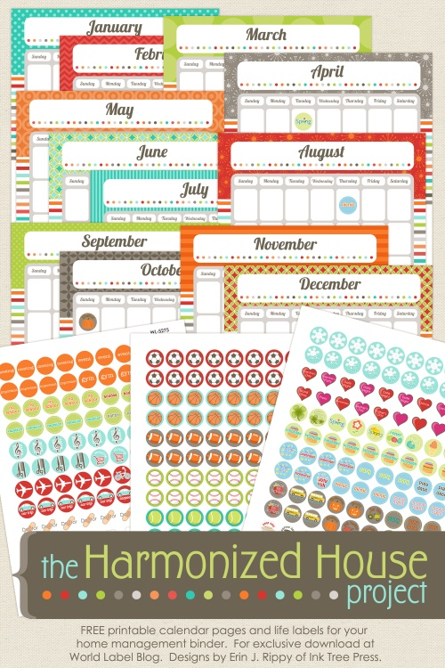 Calendar For Home Organization : Organizing labels office and productivity printables