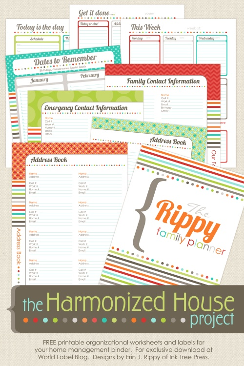 picture about Free Organization Printables named Preparing Planner: The Harmonized Dwelling Undertaking Totally free