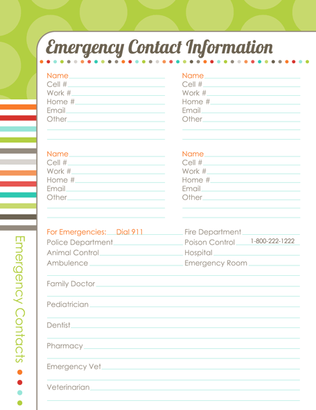 Emergency contact information template organizing planner the