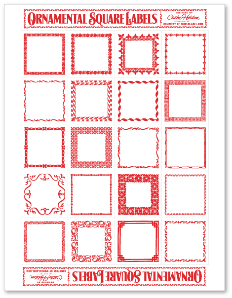 ornamental square labels by cathe holden worldlabel blog