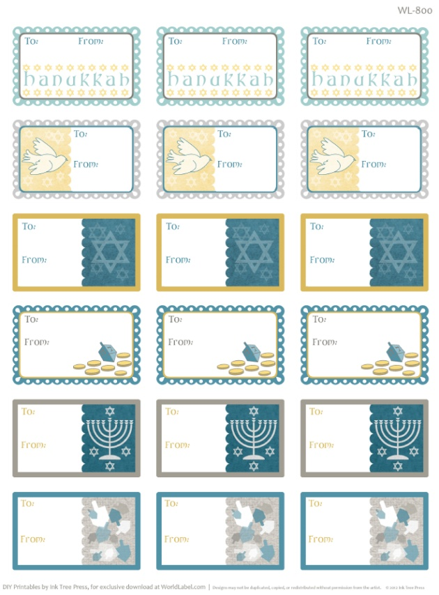 free printable hanukkah labels and templates