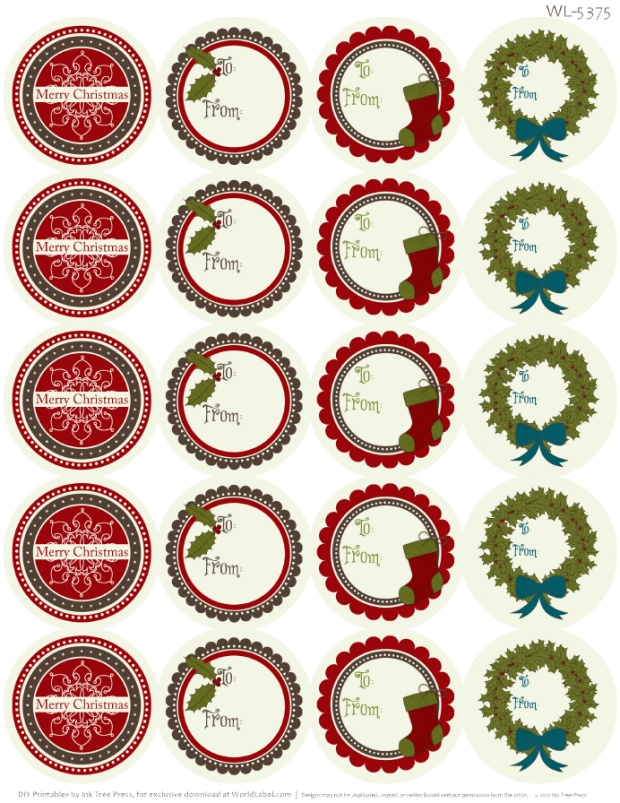 Round Christmas Address Labels