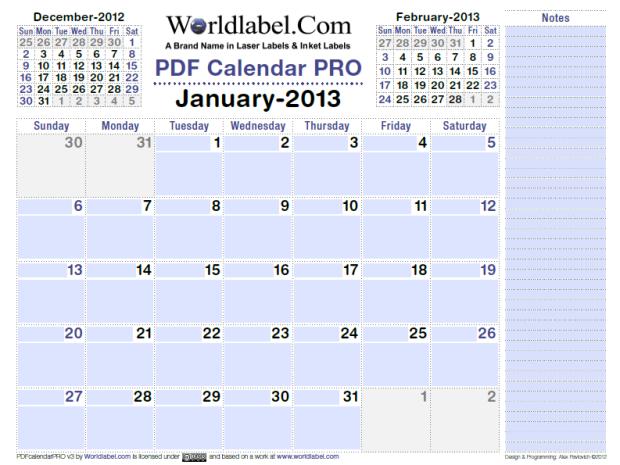 free 2013 calendar fillable pdf pro