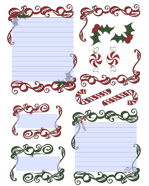 candy canes and holly journal stickers and labels