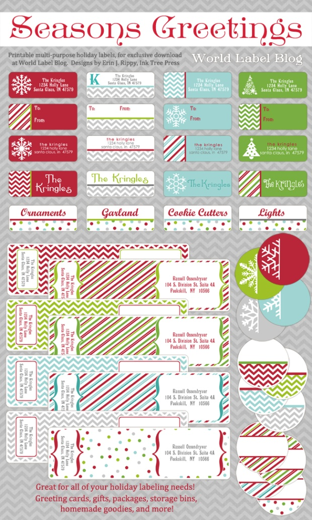 Christmas and holiday labels.
