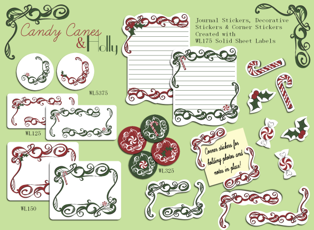 candy canes and holly journal stickers and labels worldlabel blog